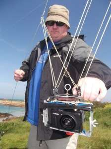 Kevin with the rig holding his pocket camera