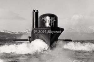 A conventional submarine leaving Faslane to go on patrol by Iain Ferguson