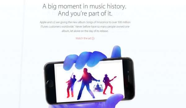 Screen grab of the Apple web announcement about the U2 advert being available to iTunes customers