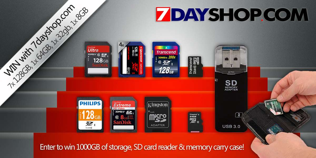 Win 1000GB of memory cards with 7dayshop!