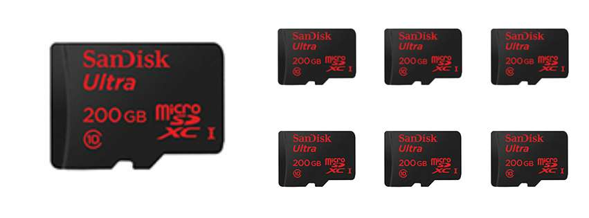 world 39 s highest capacity microsd card 200gb 7dayshop blog. Black Bedroom Furniture Sets. Home Design Ideas