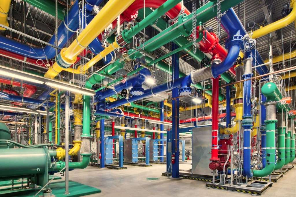 Pipework: Colourful pipes carry water in and out of Google's Oregon data center. The blue pipes supply cold water and the red pipes return the warm water back to be cooled. (photo credit: Google)