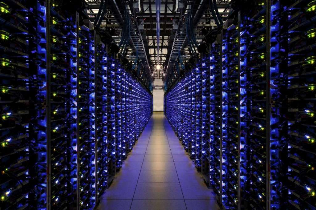 Douglas County, Georgia US: Blue LEDs on this row of servers tell Google everything is running smoothly (photo credit: Google)