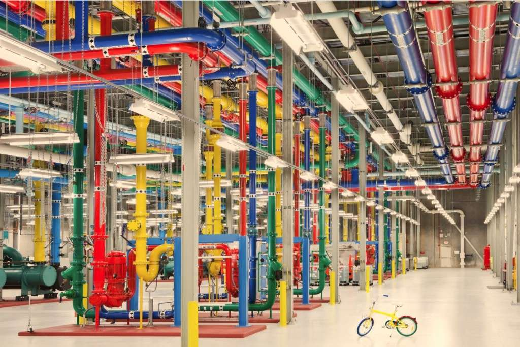 On your bike: Google data centres can be so big that workers need transport to get around. This photo is from the data centre in Douglas County, Georgia in the US (photo credit: Google)