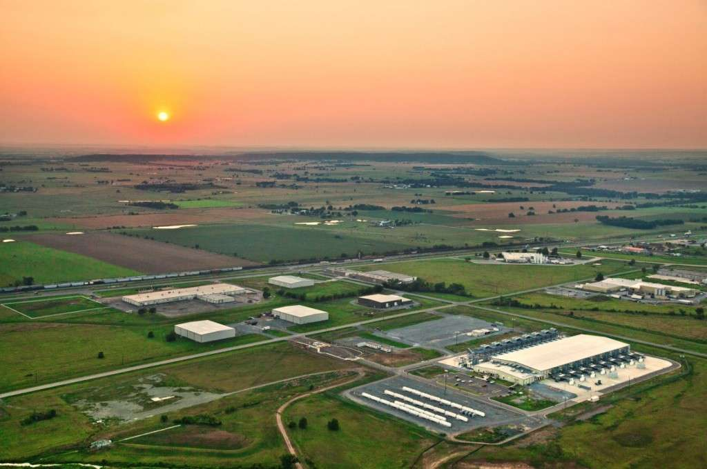 Sunset: The Google data centre at Mayes County, Oklahoma in the US (photo credit: Google)