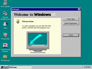 """""""Windows 95 at first run"""" by Source (WP:NFCC#4). Licensed under Fair use via Wikipedia - https://en.wikipedia.org/wiki/File:Windows_95_at_first_run.png#/media/File:Windows_95_at_first_run.png (Used with permission from Microsoft)"""
