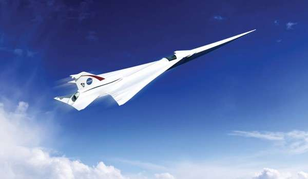 Artist impression of a Low Boom Flight Demonstration Quiet Supersonic Transport (QueSST) X-plane design (credit: Lockheed Martin)