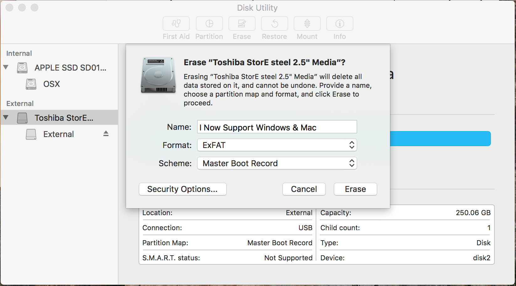 Set Security for your new Mac OS Drive