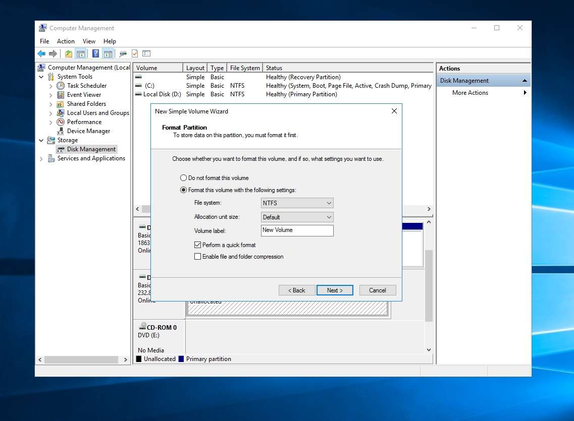 Select NTFS for Windows only or exFAT for cross platform compatibility and click next - Windows Disk Formatting
