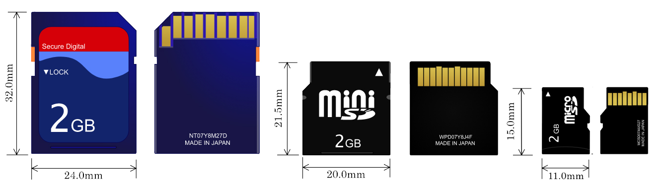 SDHC SDXC MicroSD Card Sizes Comparison Image