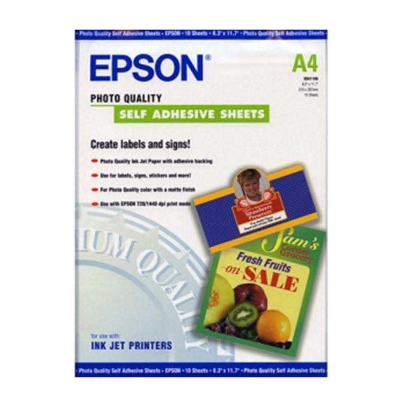 Epson Paper S041106 Photo Quality Self-Adhesive Inkjet Paper 167gsm 10 Sheets A4 lowest price