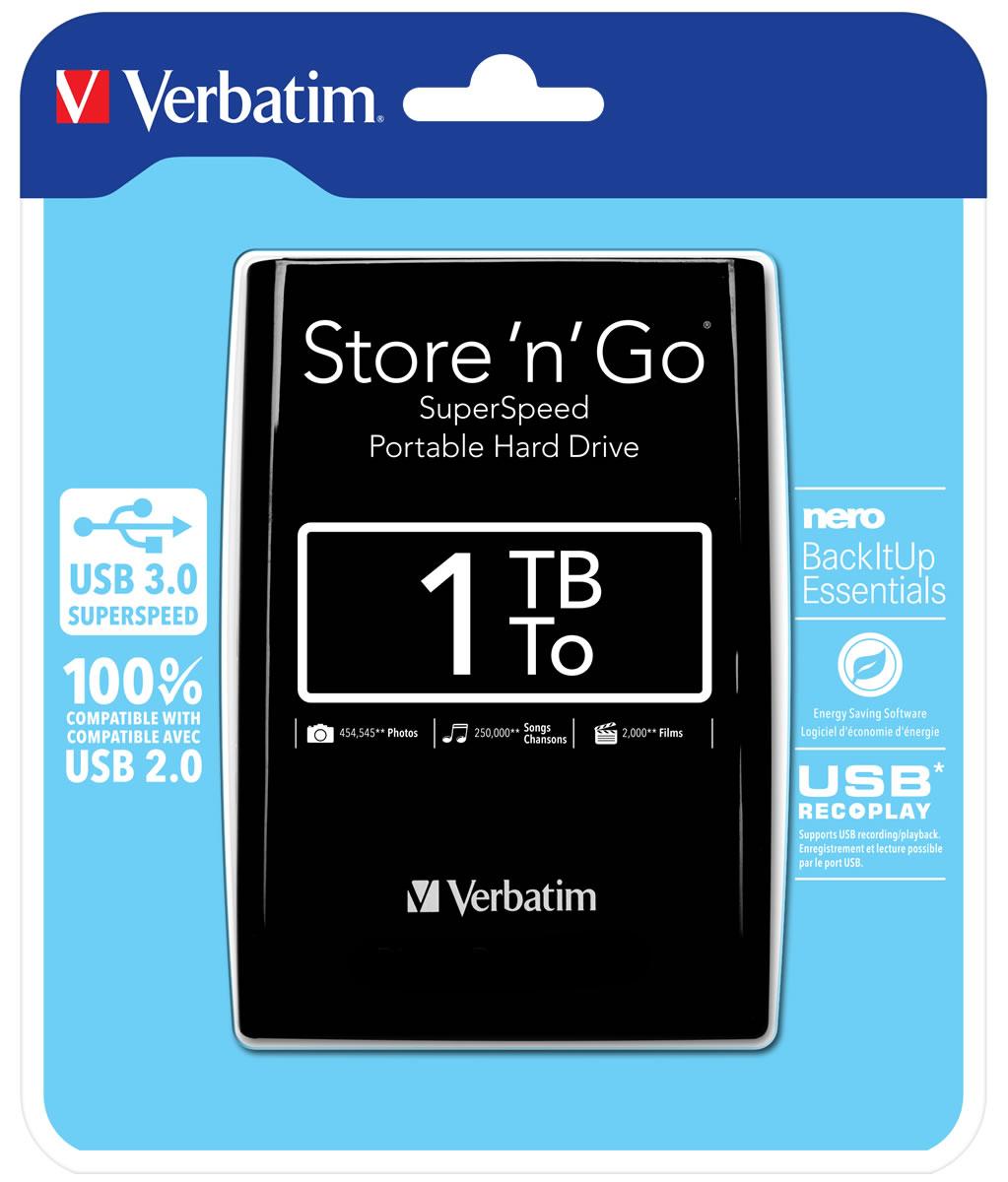 Verbatim 53023 1TB Store n Go USB 3.0 2.5 Inch External Hard Drive  Black