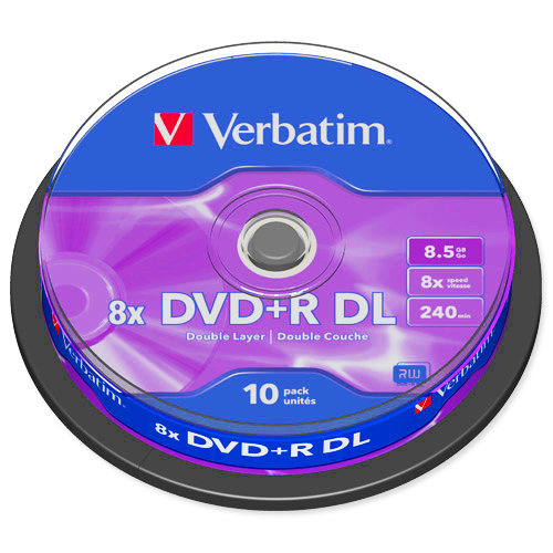 Verbatim DVD+R Double Layer 8x Matt Silver - 8.5GB 240min - 10 x Spindle - 43666 lowest price