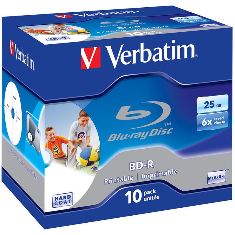 Verbatim BDR Bluray 6x Printable Discs  25GB  10 Pack Jewel Case