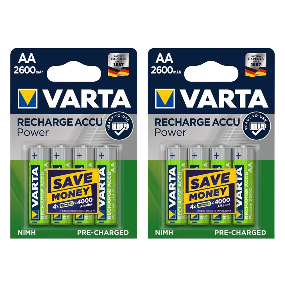 8-Pack-VARTA-AA-Rechargeable-Batteries-Accu-Power-2600mah-Capacity-Pre-Charged