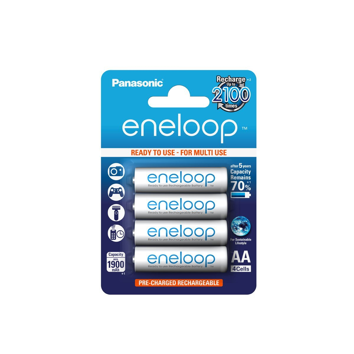 Panasonic Eneloop AA LR6 MN1500 Ni-Mh 1900mah Rechargeable Battery - 4 Pack lowest price