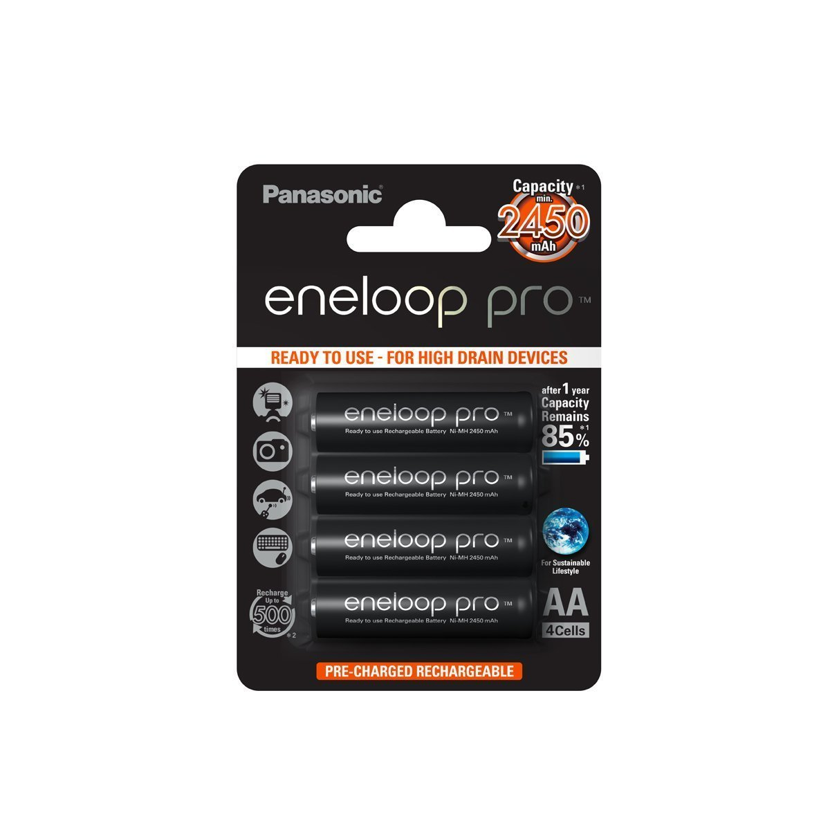 Panasonic Eneloop Pro Rechargeable Ready to use Battery AA 4 Pack