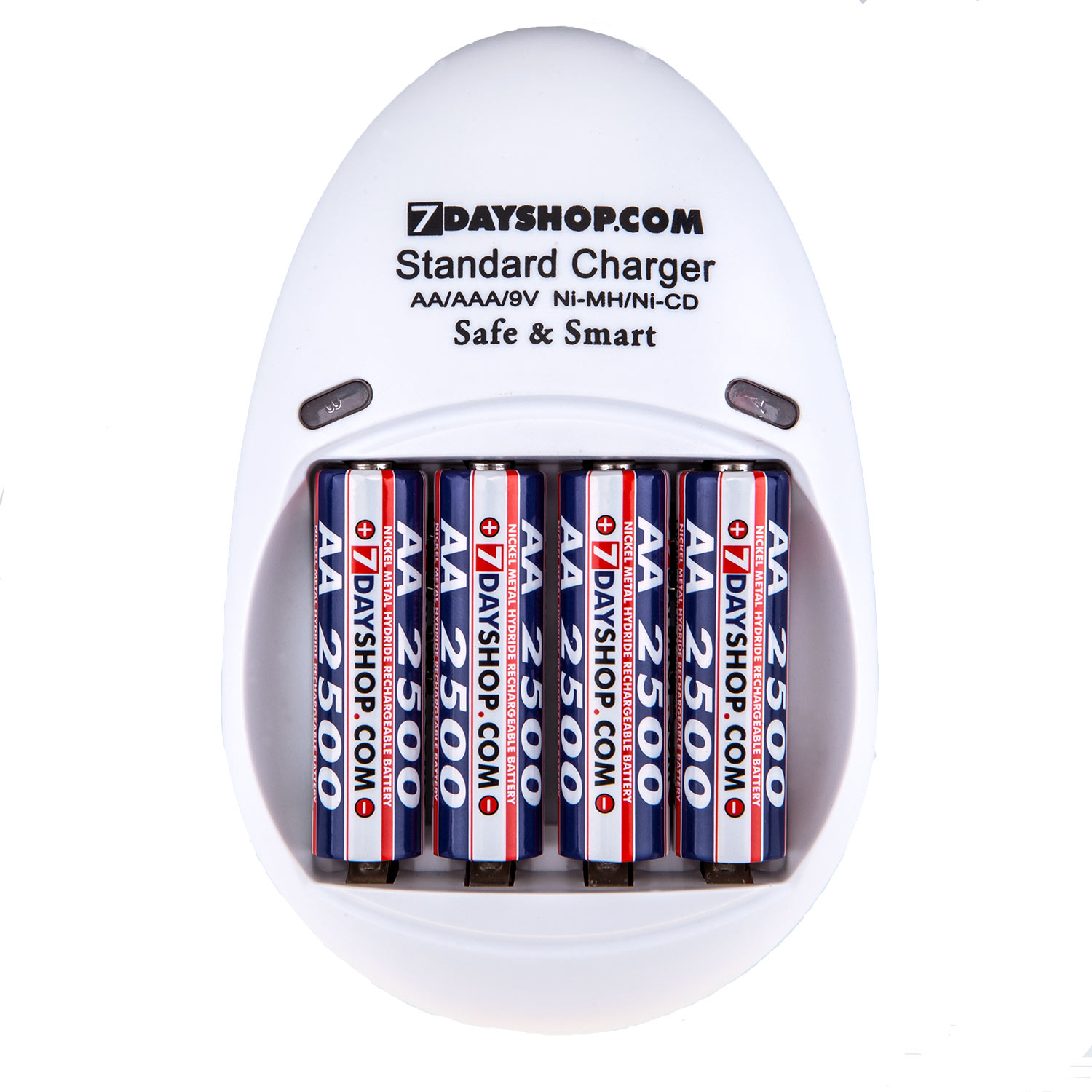 7dayshop Battery Charger  Safe & Smart  Model 200S  For AA  AAA and 9V Sizes