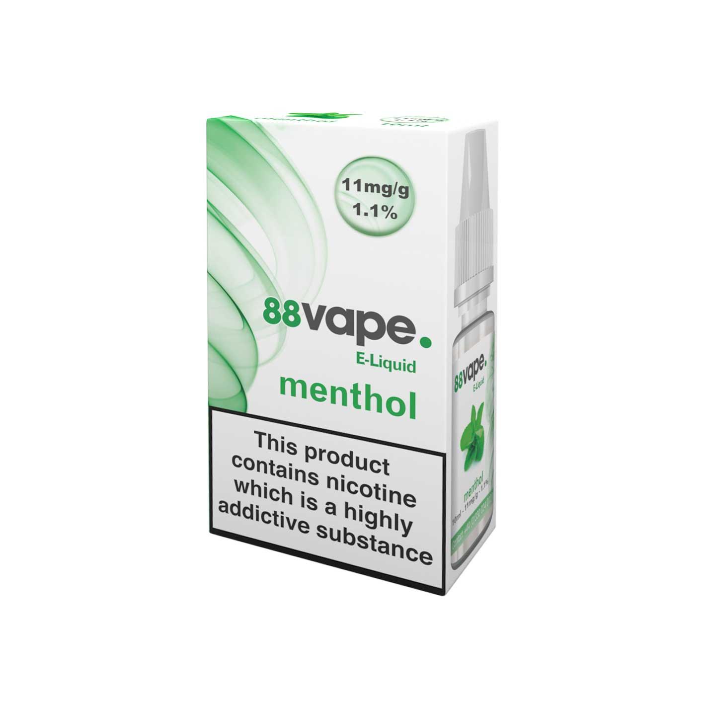 88Vape E-Liquid Menthol 10ml - 11mg Nicotine - Extra Value 20 Pack lowest price
