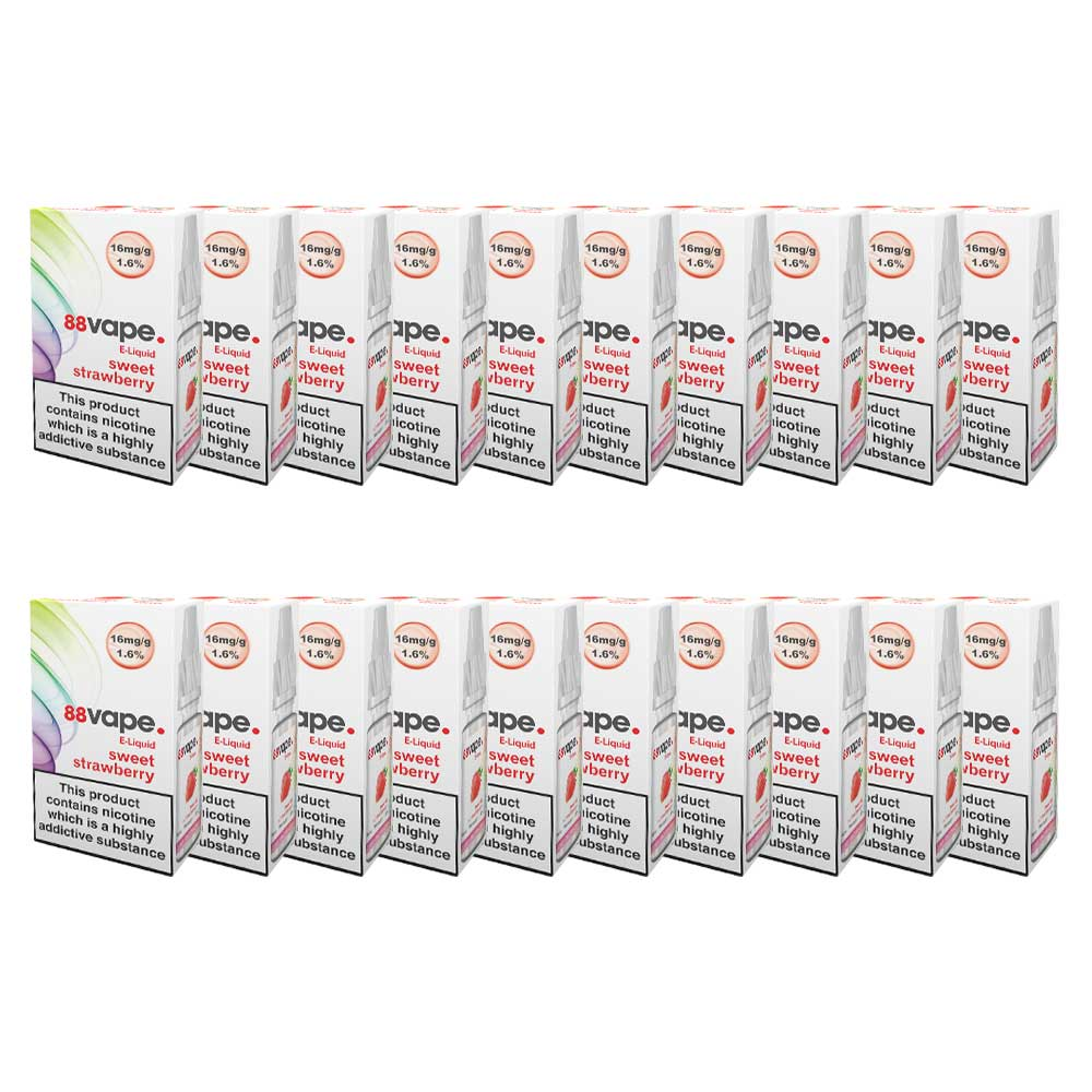 88Vape E-Liquid Sweet Strawberry 10ml - 16mg Nicotine - Extra Value 20 Pack lowest price