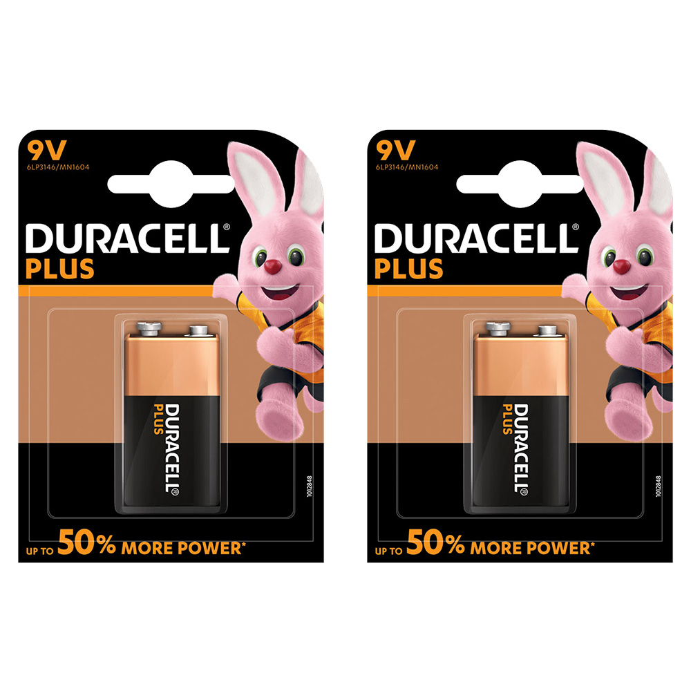 Duracell PLUS POWER 9V (6LR61 / MN1604 / PP3) Alkaline Batteries - Pack of 2