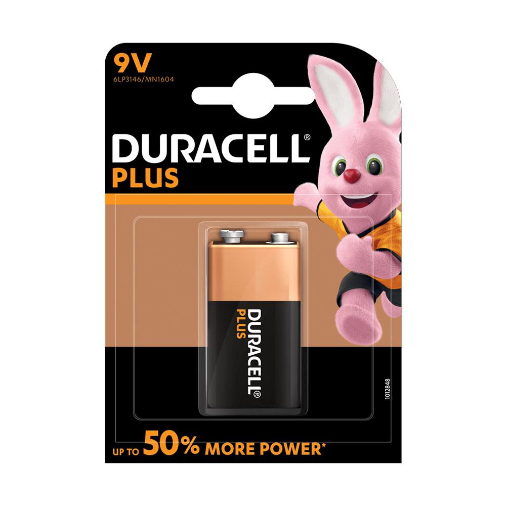 Duracell PLUS POWER 9V (6LR61 / MN1604 / PP3) Alkaline Batteries - Pack of 1