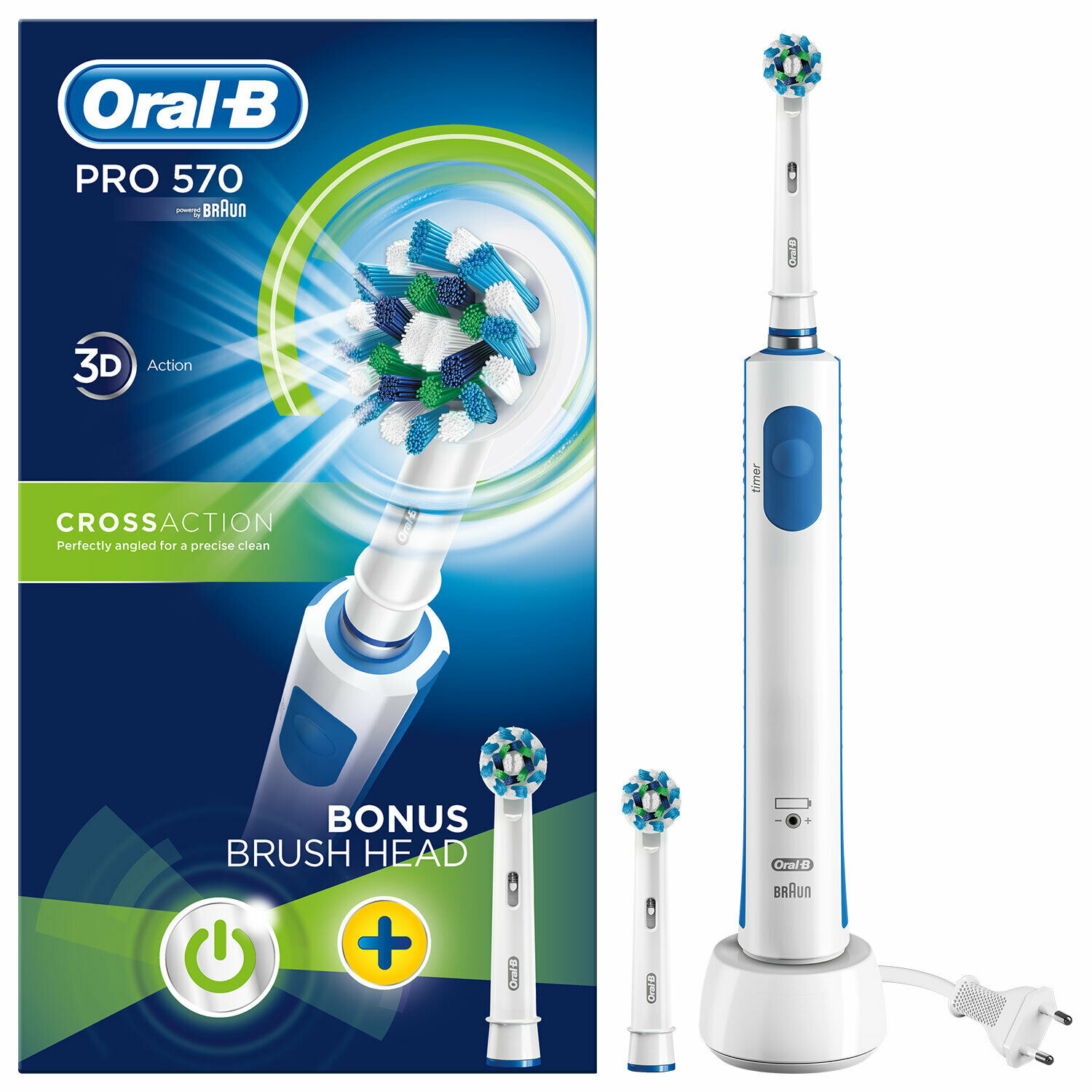 Braun Oral-B Pro 570 3D Cross Action Electric Rechargeable Power Toothbrush