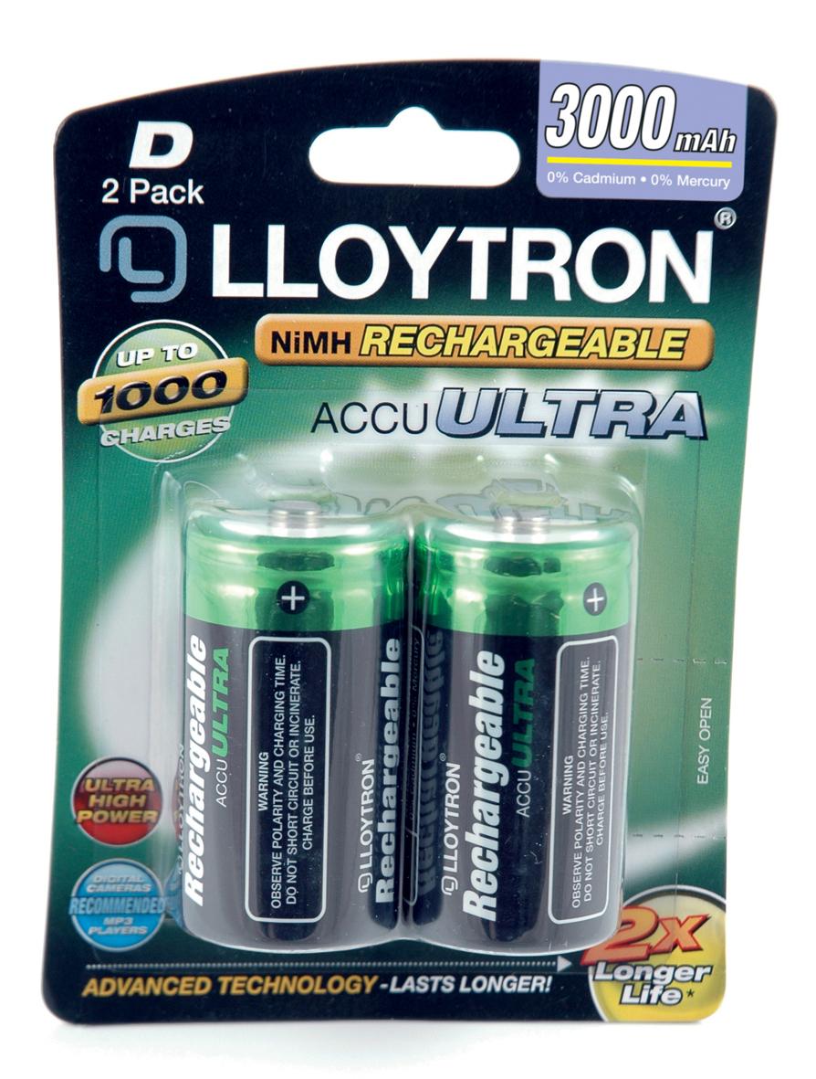 Lloytron ACCU ULTRA D Cell 3000mah Battery 2pk