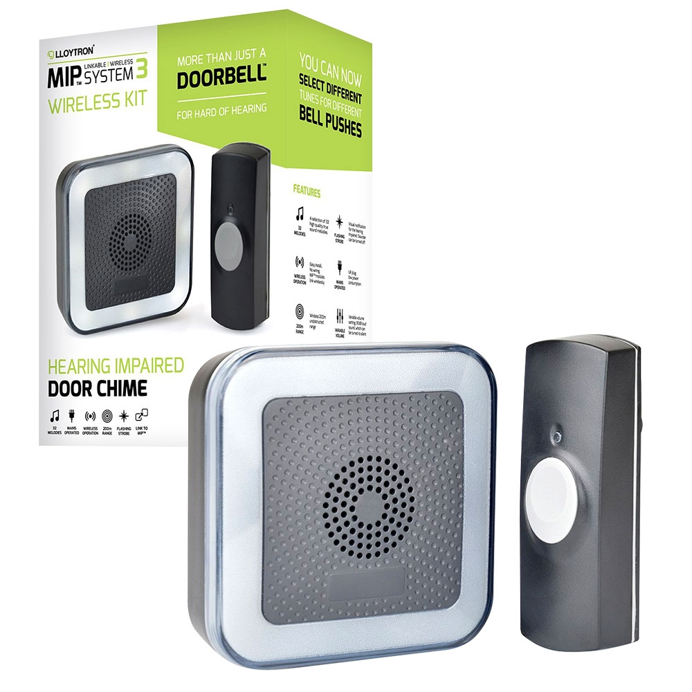 Lloytron MIP3 Wireless Door Bell and Chime Kit 32 Melody with Strobe  - Black