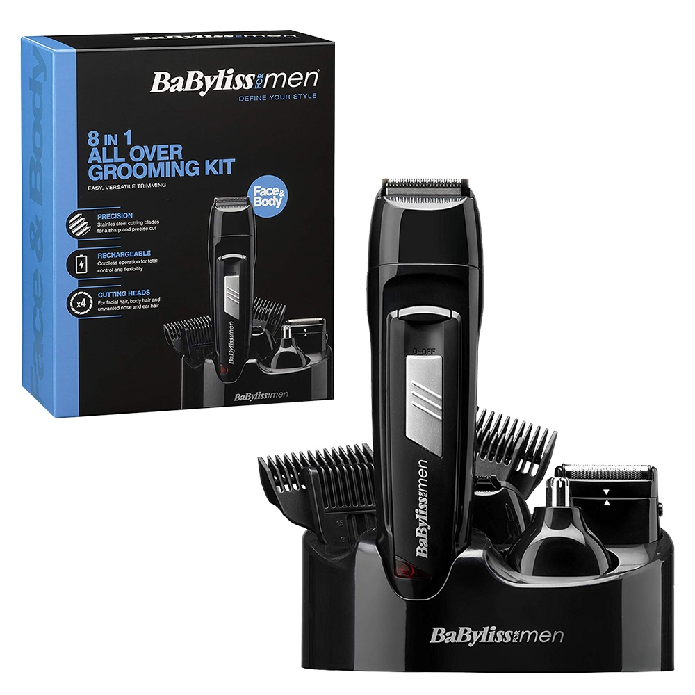 BaByliss for Men 8-in-1 All Over Hair, Beard    Nose Grooming Clipper set Kit - BA-7056CU