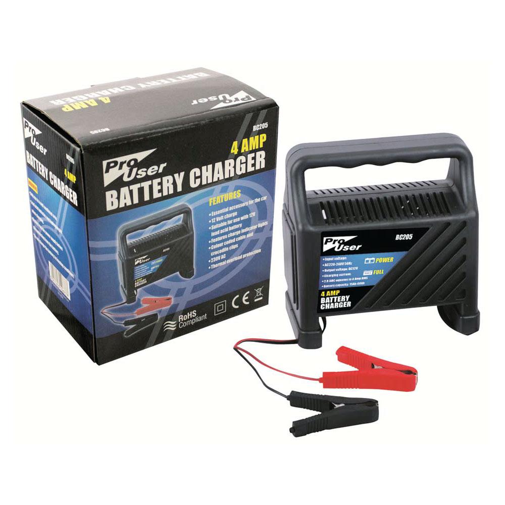Pro User 4 Amp 12v Car, Vehicle, Bike, Battery Charger for Lead Acid Batteries