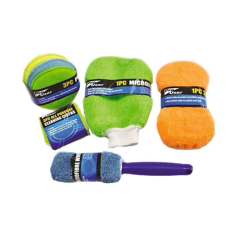 Pro User - 9 Piece Microfibre Car Cleaning Kit