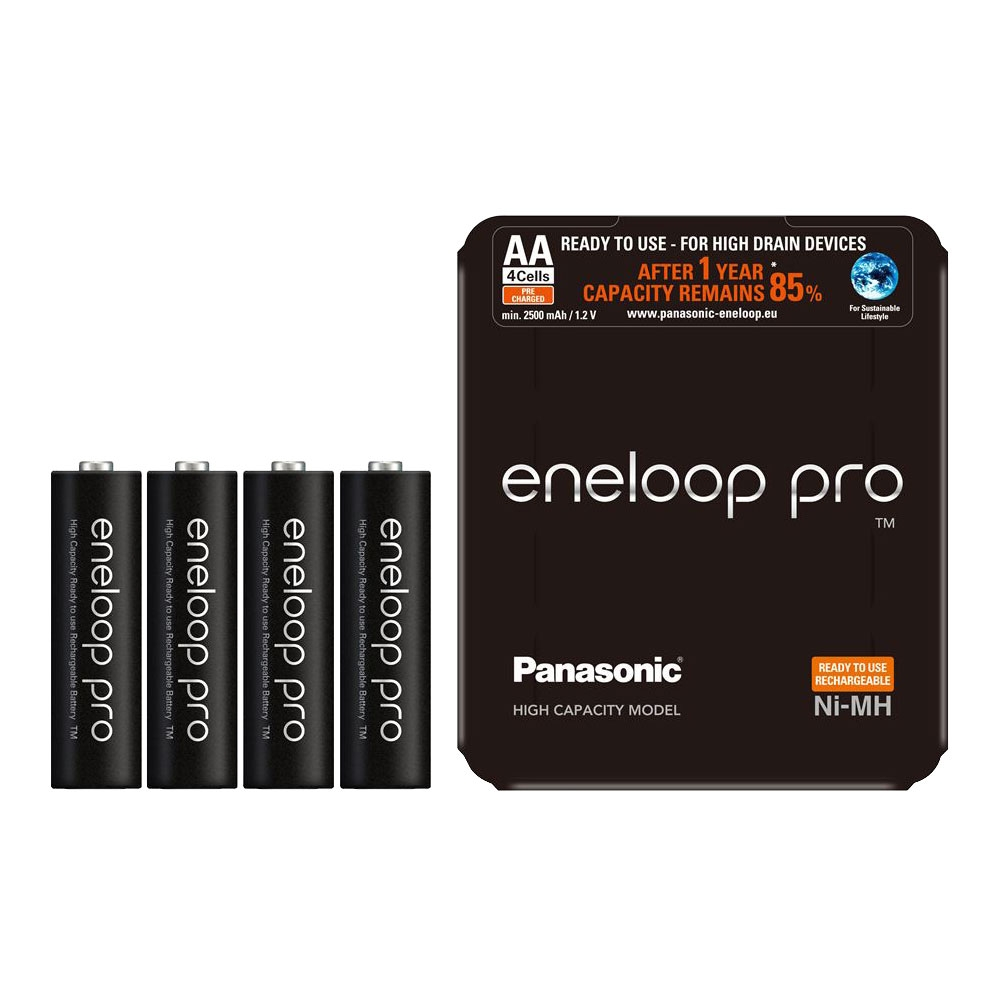 Panasonic Eneloop PRO AA Rechargeable Batteries NiMH 2500mAh - 4 Pack with Case