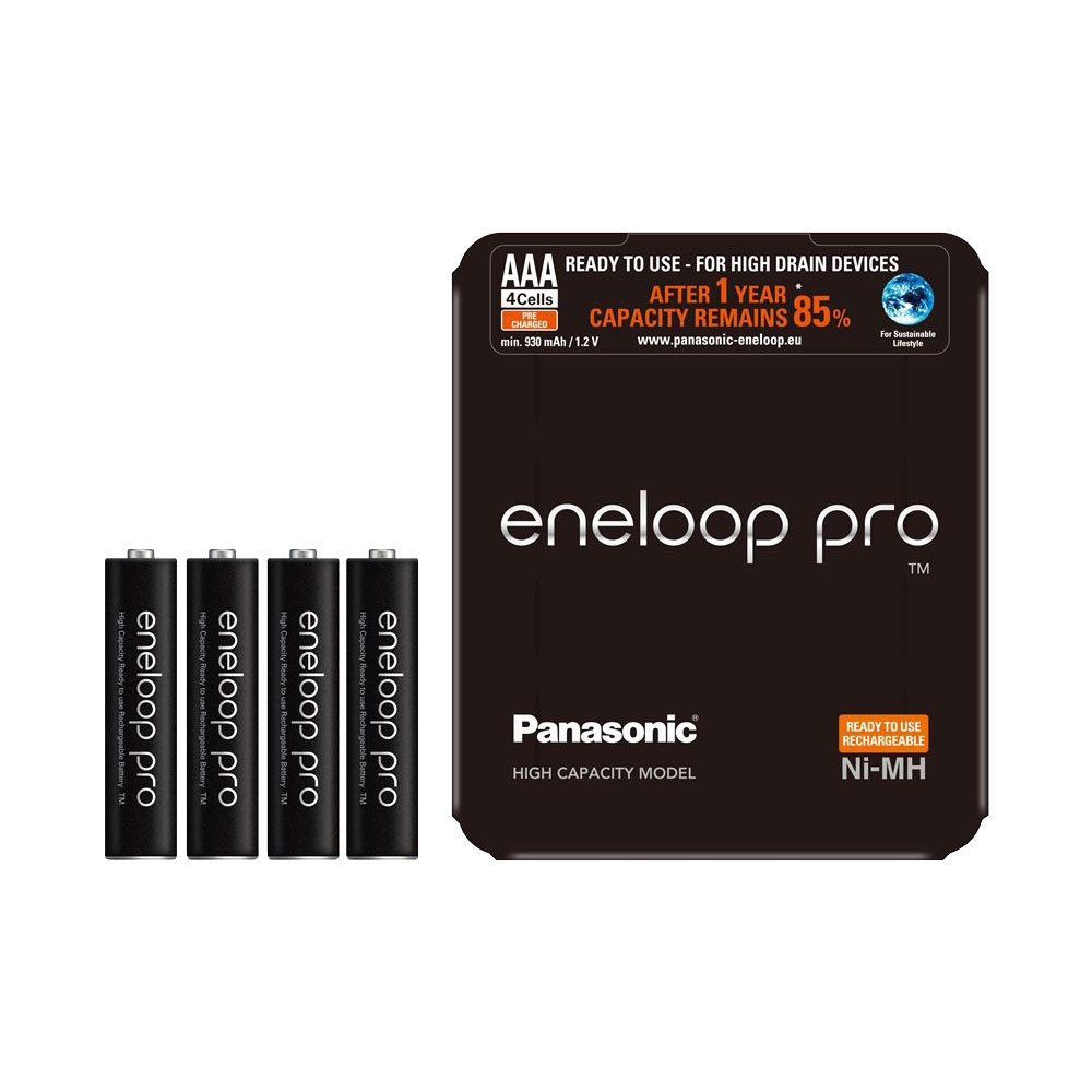 Panasonic Eneloop PRO AAA Rechargeable Batteries NiMH 930mAh - 4 Pack with Case