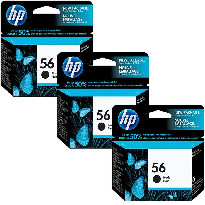HP 56 Black Ink Cartridge (C6656AE)  Value 3 Pack