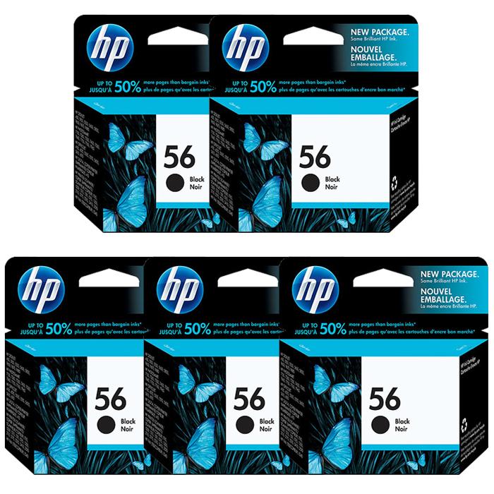 HP 56 Black Ink Cartridge (C6656AE)  Value 5 Pack