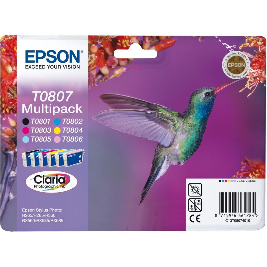 Epson Original T0807 Hummingbird 44.4ml Extra Value 6 Colour Multipack