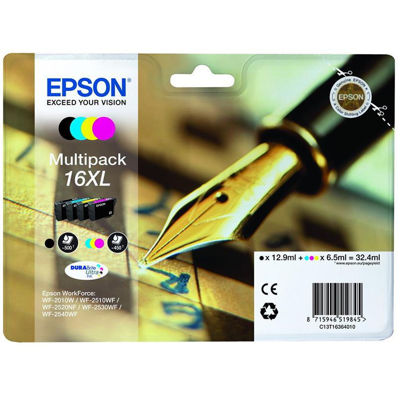 Epson Original 16XL T1636 Pen and Crossword 32.4ml Extra Value 4 Cartridge Multipack
