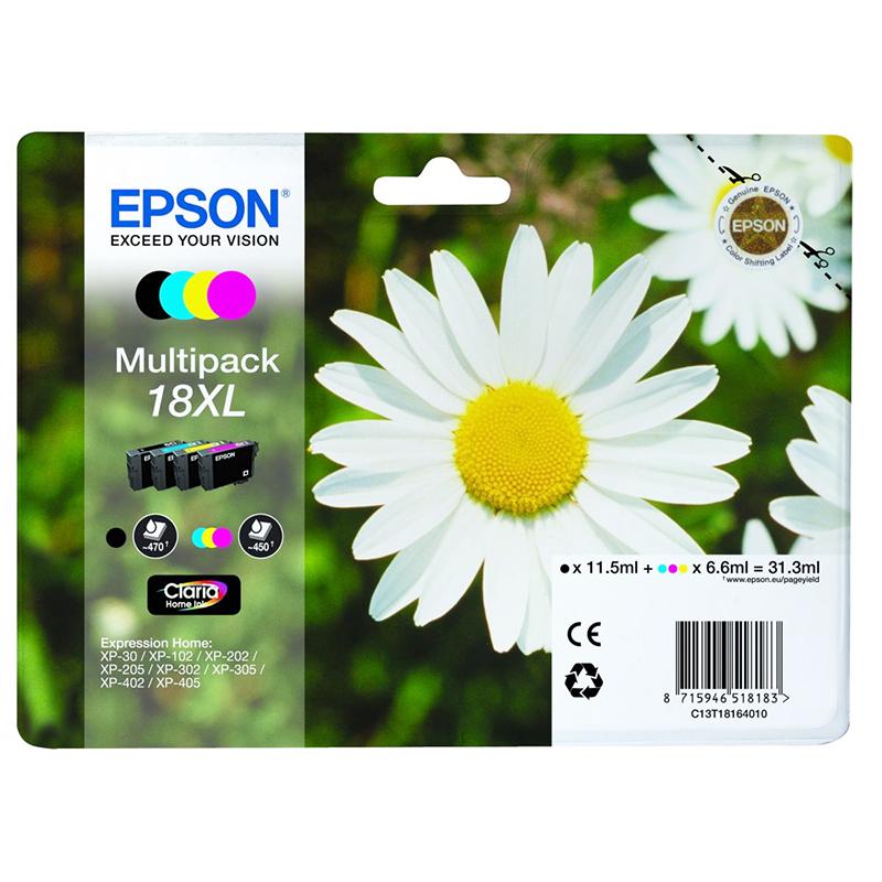 Epson Original 18XL T1816 Daisy 31.3ml Extra Value 4 Colour Multipack