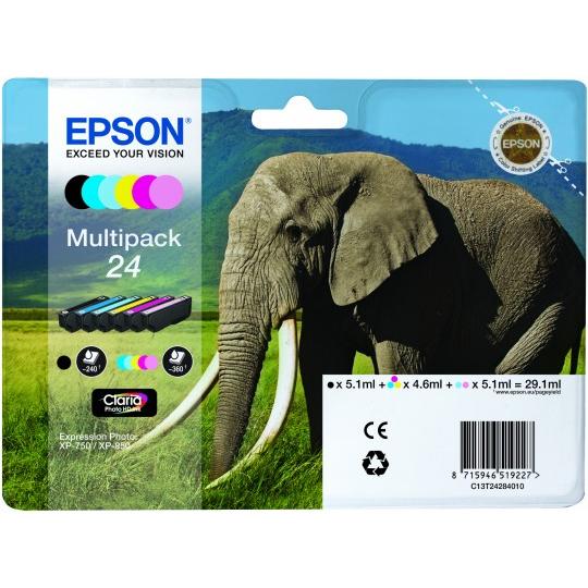 Epson Original 24 T2428 Elephant 29.1ml Extra Value 6 Cartridge Multipack