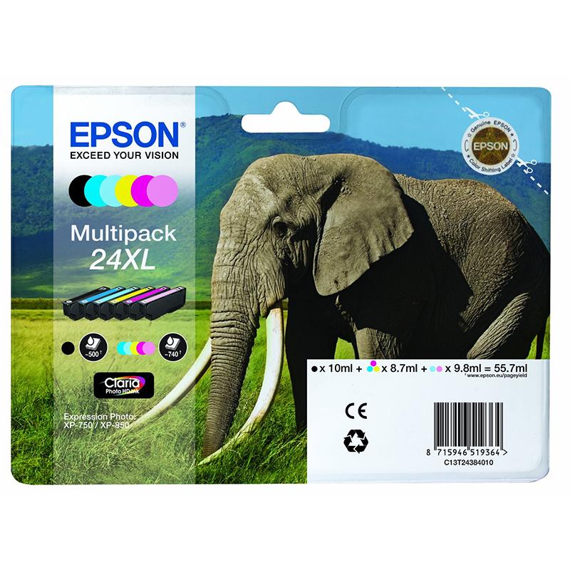 Epson Original 24XL T2438 Elephant 55.7ml Extra Value 6 Cartridge Multipack
