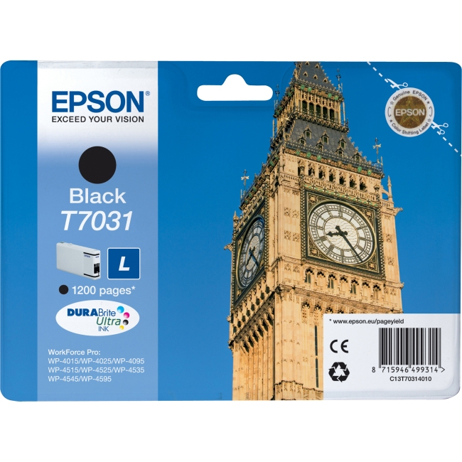 Click to view product details and reviews for Epson Original T7031 Big Ben Ink Cartridge 24ml Black.