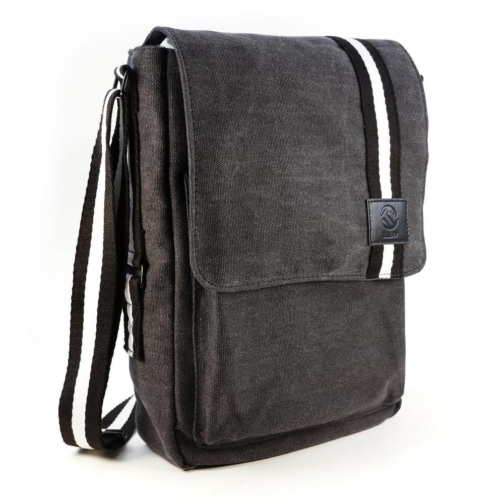 TuffLuv Camden Canvas Messenger Bag  Shoulder Bag for iPad Tablet or Laptop  Charcoal Black