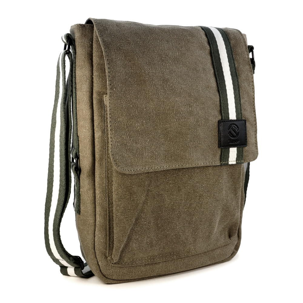 TuffLuv Camden Canvas Messenger Bag  Shoulder Bag for iPad Tablet or Laptop  Military Green