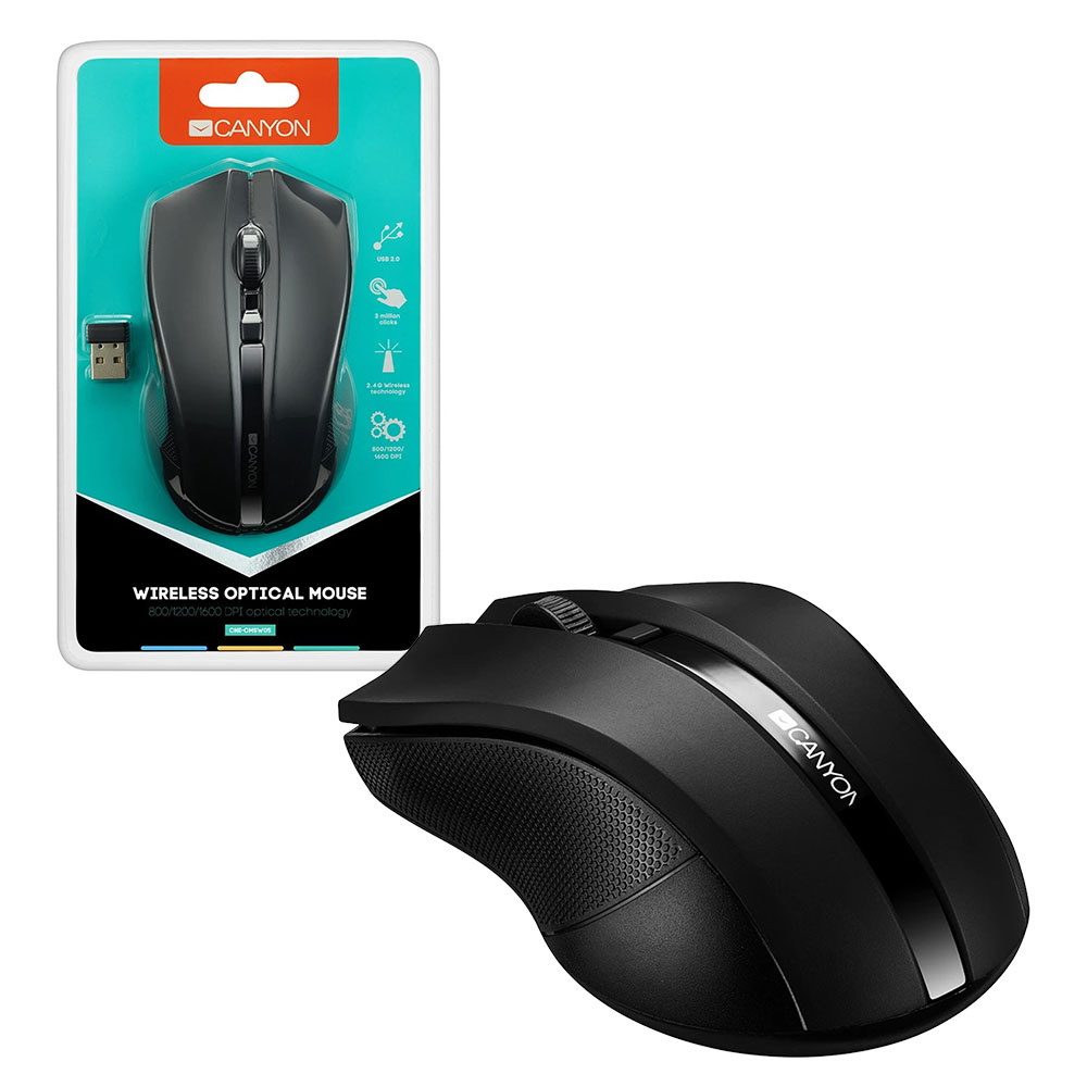 Click to view product details and reviews for Canyon Wireless Optical Mouse 4 Button Black.