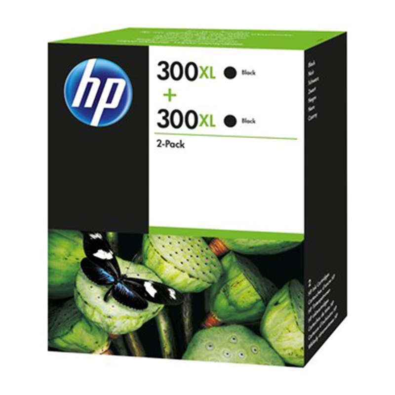 HP 300XL Black Ink Cartridge (D8J43AE) Twin Pack