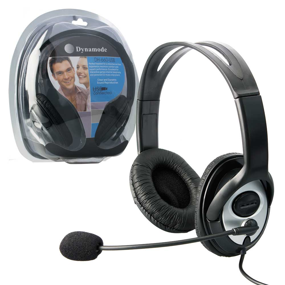Dynamode DH-660 USB Stereo Headphones / Headset with Mic. and In-line Remote Control lowest price