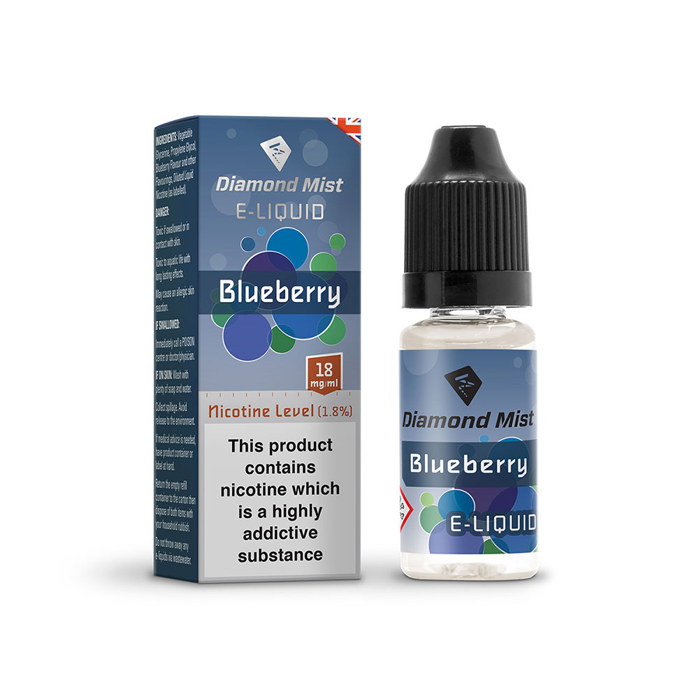Compare retail prices of Diamond Mist E-Liquid Blueberry 10ml - 18mg Nicotine to get the best deal online