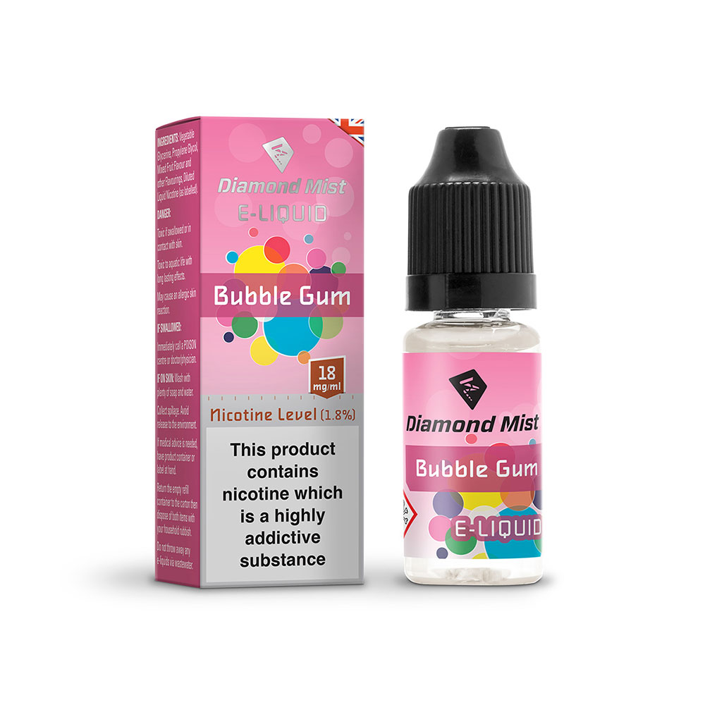 Compare retail prices of Diamond Mist E-Liquid Bubble Gum 10ml - 18mg Nicotine to get the best deal online