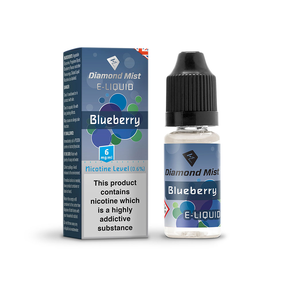 Compare retail prices of Diamond Mist E-Liquid Blueberry 10ml - 6mg Nicotine to get the best deal online